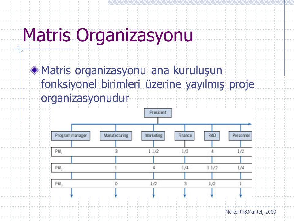 Matris Organizasyonu Matris organizasyonu ana kuruluşun fonksiyonel birimleri üzerine yayılmış proje organizasyonudur.