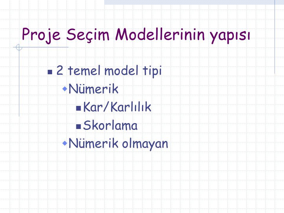 Proje Seçim Modellerinin yapısı