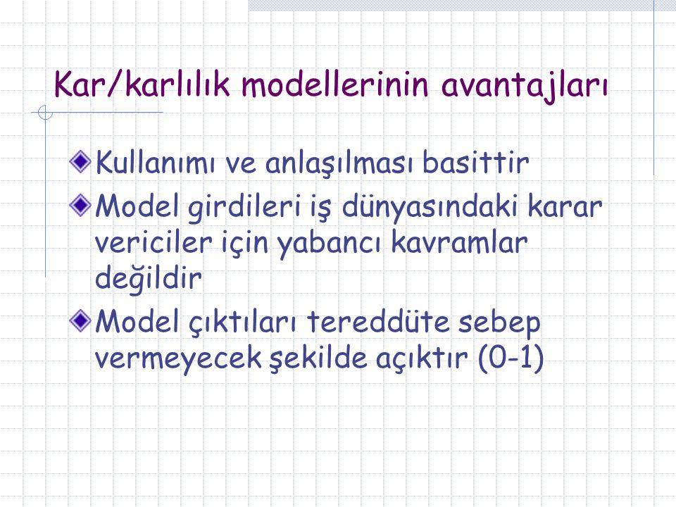 Kar/karlılık modellerinin avantajları