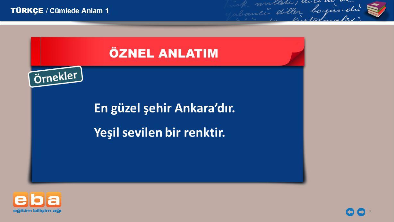 En güzel şehir Ankara'dır. Yeşil sevilen bir renktir.