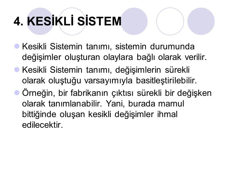 4. KESİKLİ SİSTEM Kesikli Sistemin tanımı, sistemin durumunda değişimler oluşturan olaylara bağlı olarak verilir.