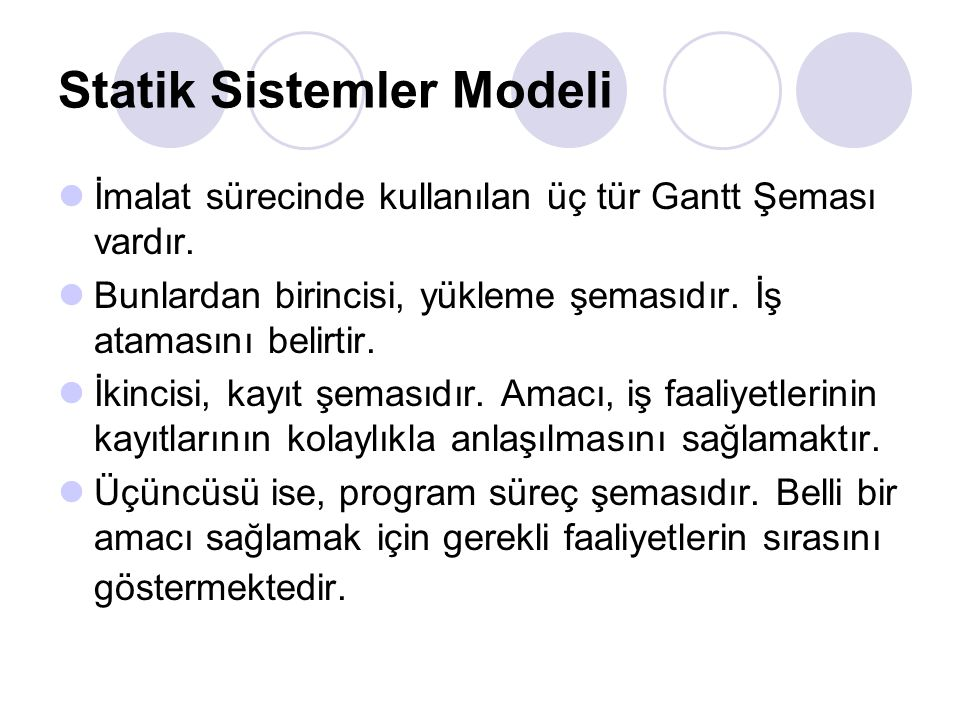 Statik Sistemler Modeli