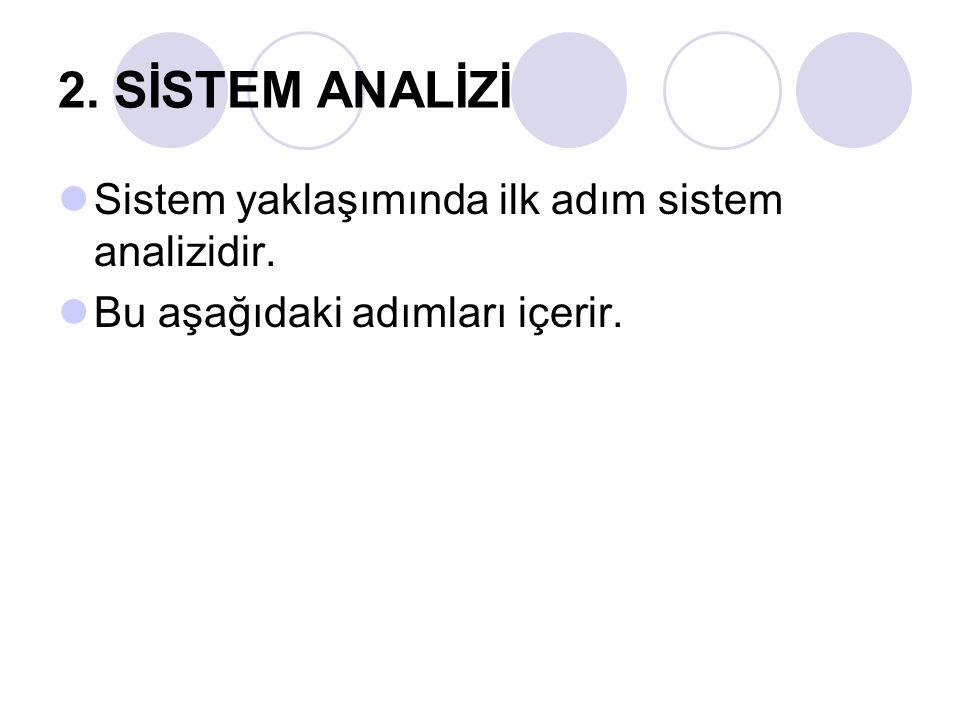 2. SİSTEM ANALİZİ Sistem yaklaşımında ilk adım sistem analizidir.