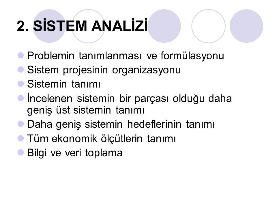 2. SİSTEM ANALİZİ Problemin tanımlanması ve formülasyonu