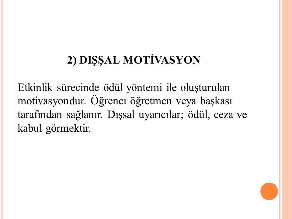 2) DIŞŞAL MOTİVASYON