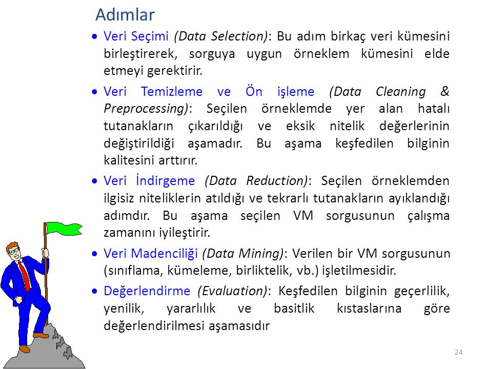 Adımlar Veri Seçimi (Data Selection): Bu adım birkaç veri kümesini birleştirerek, sorguya uygun örneklem kümesini elde etmeyi gerektirir.