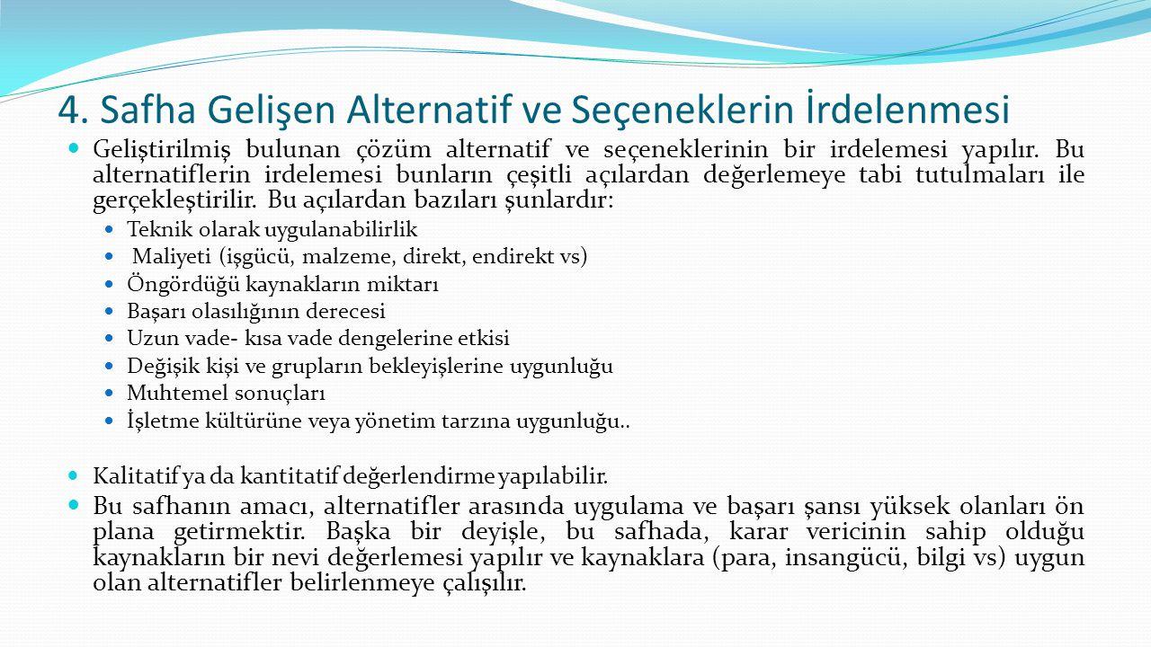 4. Safha Gelişen Alternatif ve Seçeneklerin İrdelenmesi