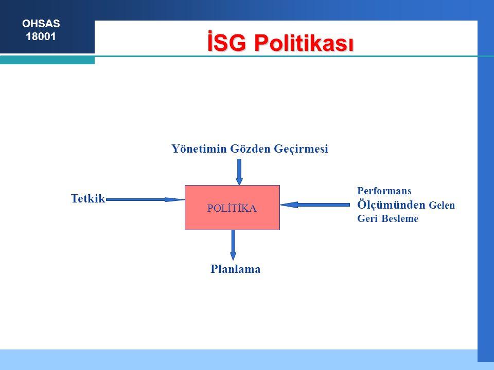 İSG Politikası Yönetimin Gözden Geçirmesi Tetkik Ölçümünden Gelen