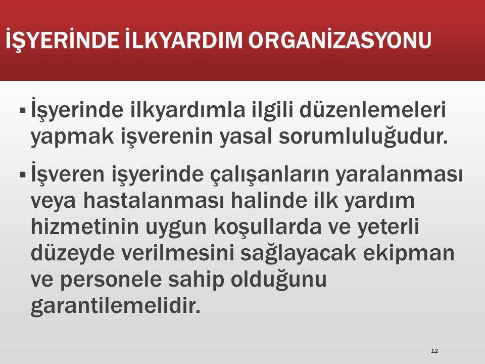 İŞYERİNDE İLKYARDIM ORGANİZASYONU