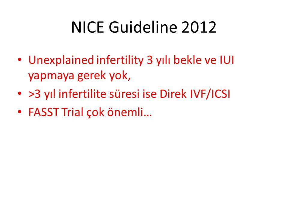 NICE Guideline 2012 Unexplained infertility 3 yılı bekle ve IUI yapmaya gerek yok, >3 yıl infertilite süresi ise Direk IVF/ICSI.