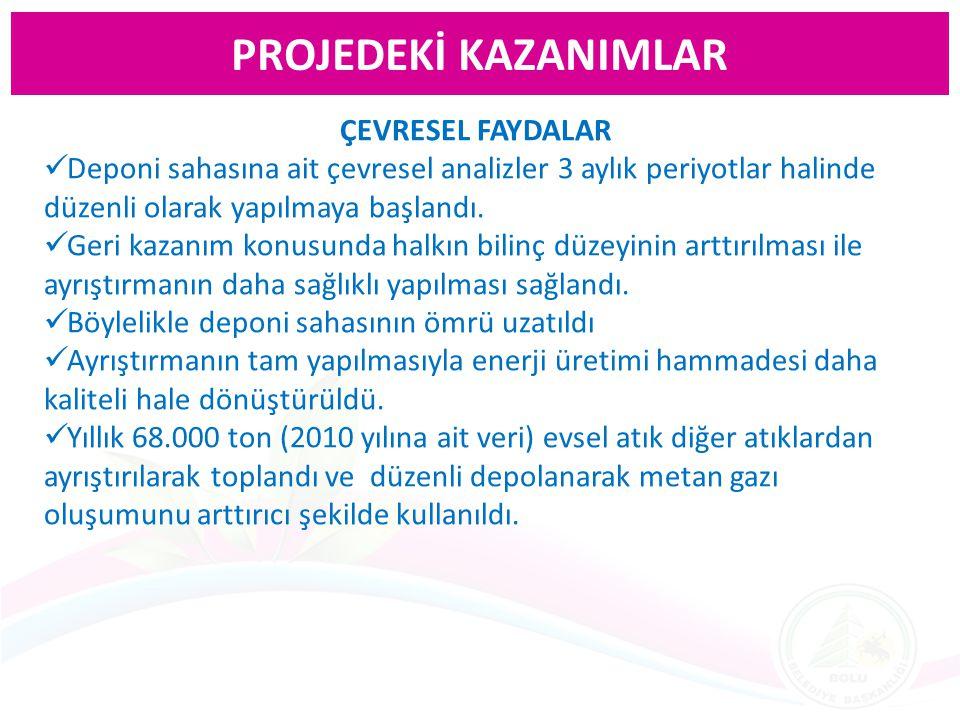 PROJEDEKİ KAZANIMLAR ÇEVRESEL FAYDALAR