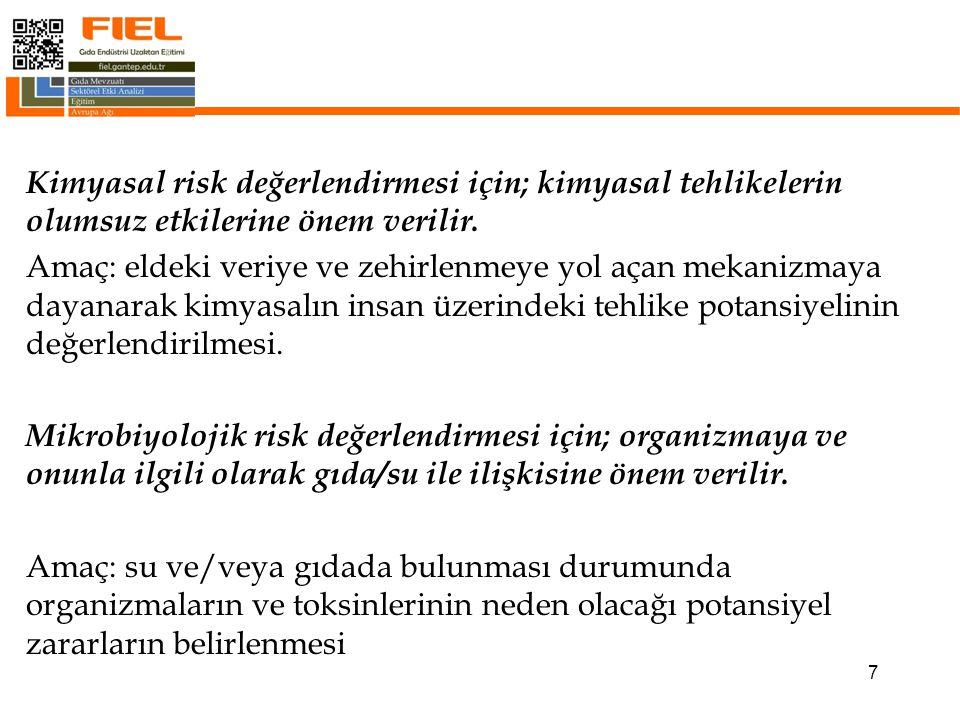 Kimyasal risk değerlendirmesi için; kimyasal tehlikelerin olumsuz etkilerine önem verilir.