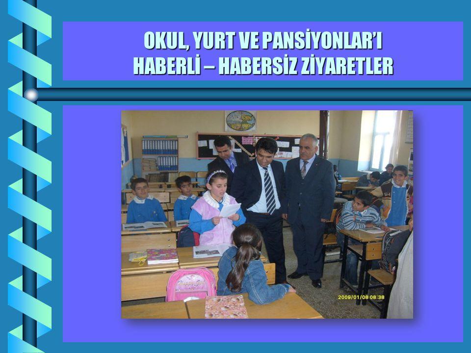 OKUL, YURT VE PANSİYONLAR'I HABERLİ – HABERSİZ ZİYARETLER