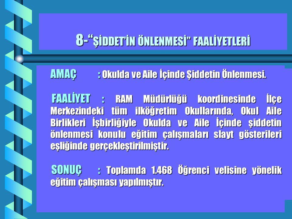 8- ŞİDDET'İN ÖNLENMESİ FAALİYETLERİ