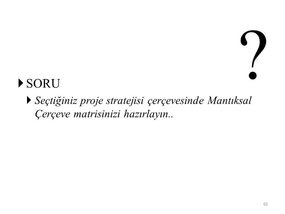 SORU Seçtiğiniz proje stratejisi çerçevesinde Mantıksal Çerçeve matrisinizi hazırlayın..
