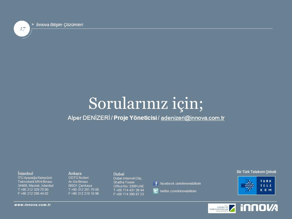 Alper DENİZERİ / Proje Yöneticisi / adenizeri@innova.com.tr