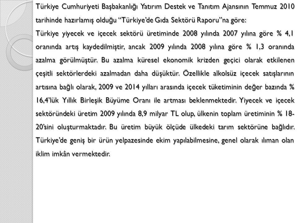 Türkiye Cumhuriyeti Başbakanlığı Yatırım Destek ve Tanıtım Ajansının Temmuz 2010 tarihinde hazırlamış olduğu Türkiye'de Gıda Sektörü Raporu na göre: