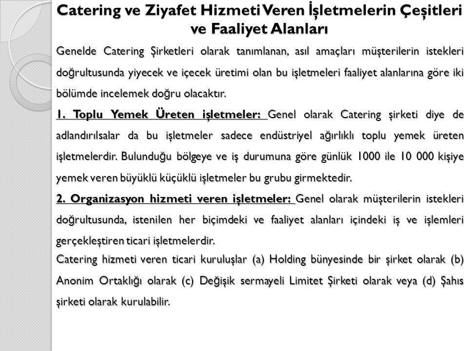 Catering ve Ziyafet Hizmeti Veren İşletmelerin Çeşitleri ve Faaliyet Alanları