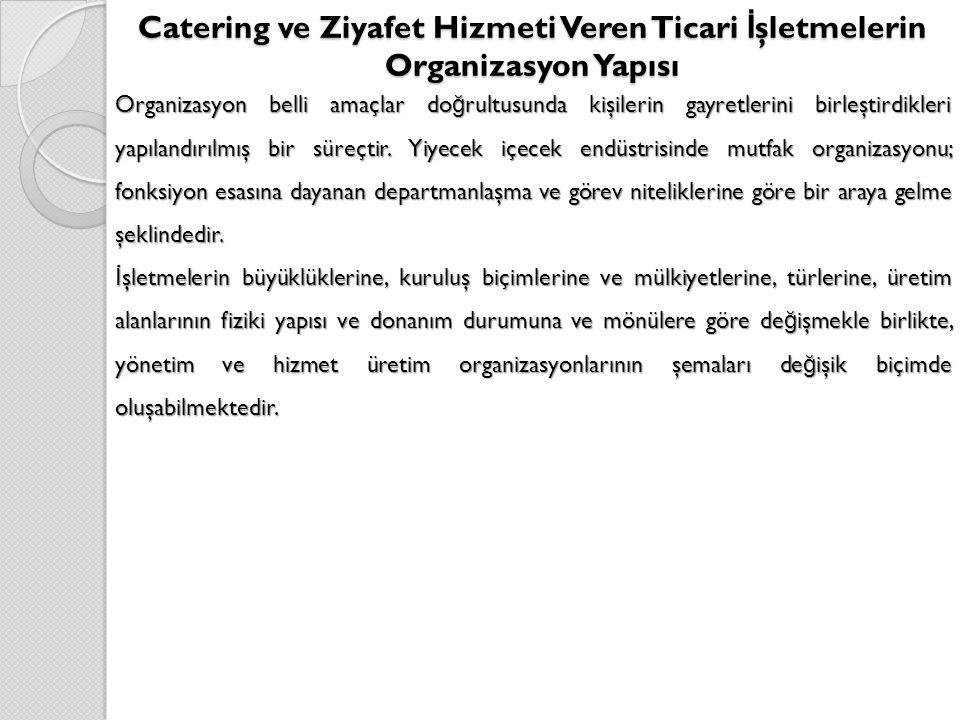 Catering ve Ziyafet Hizmeti Veren Ticari İşletmelerin Organizasyon Yapısı