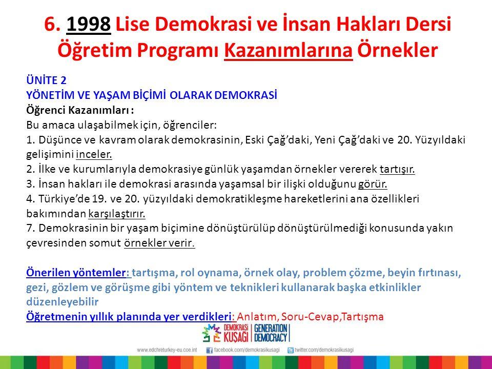 6. 1998 Lise Demokrasi ve İnsan Hakları Dersi Öğretim Programı Kazanımlarına Örnekler