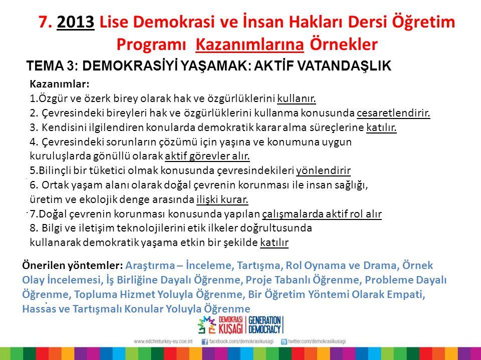 7. 2013 Lise Demokrasi ve İnsan Hakları Dersi Öğretim Programı Kazanımlarına Örnekler
