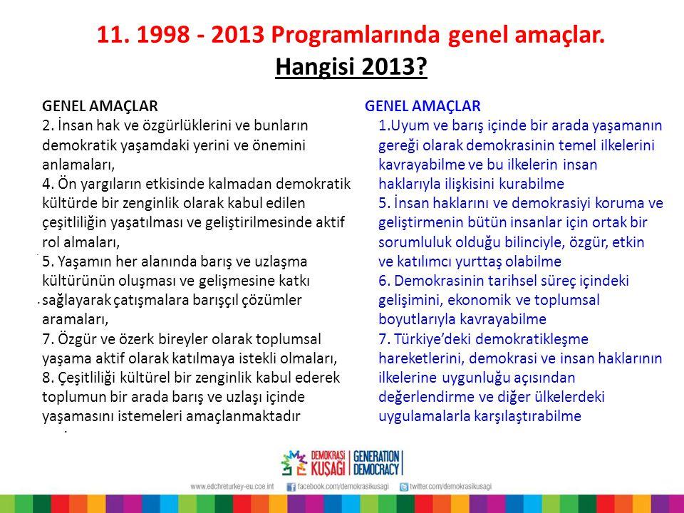 11. 1998 - 2013 Programlarında genel amaçlar.