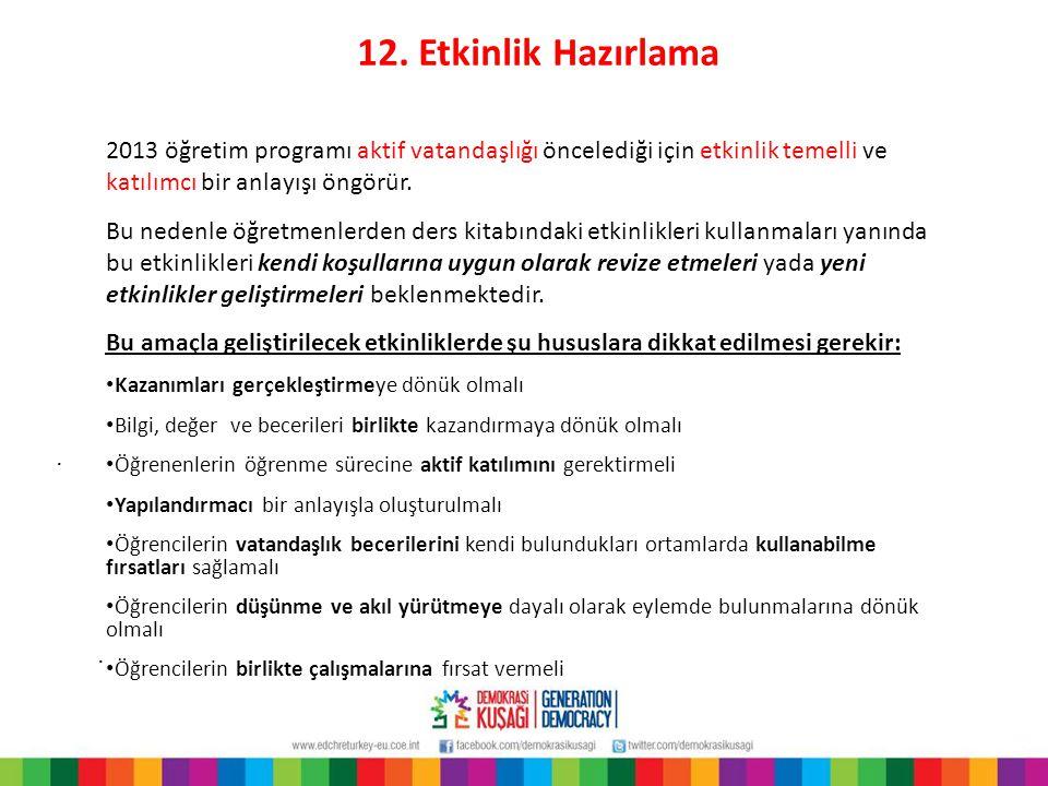 12. Etkinlik Hazırlama 2013 öğretim programı aktif vatandaşlığı öncelediği için etkinlik temelli ve katılımcı bir anlayışı öngörür.