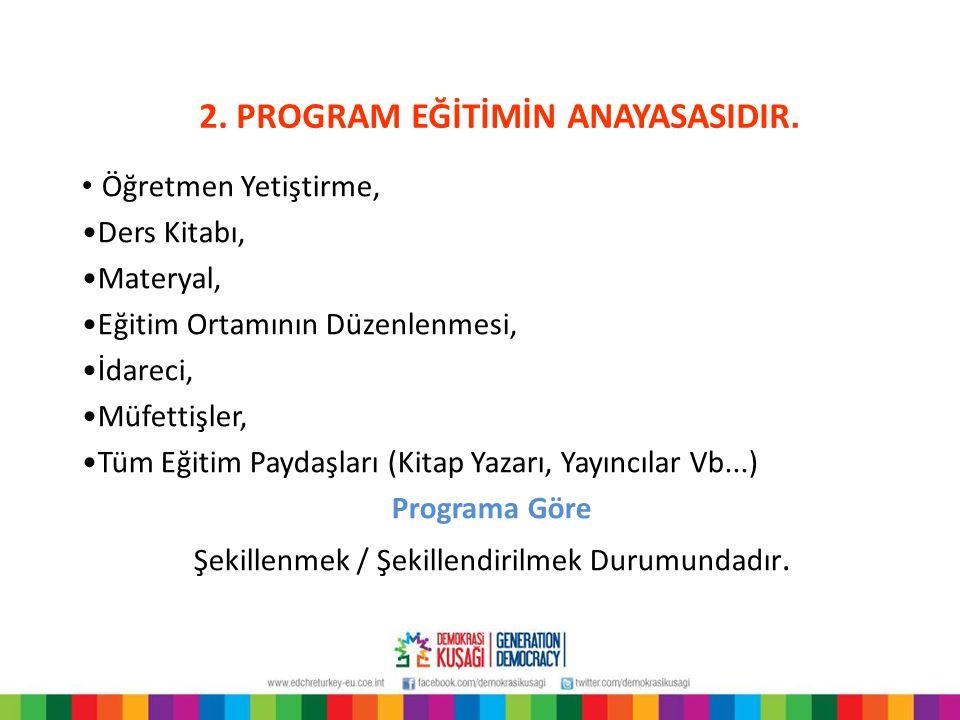 2. PROGRAM EĞİTİMİN ANAYASASIDIR.