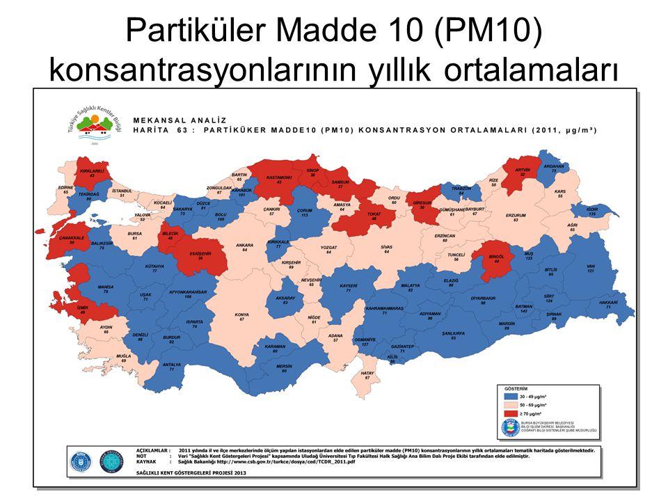 Partiküler Madde 10 (PM10) konsantrasyonlarının yıllık ortalamaları