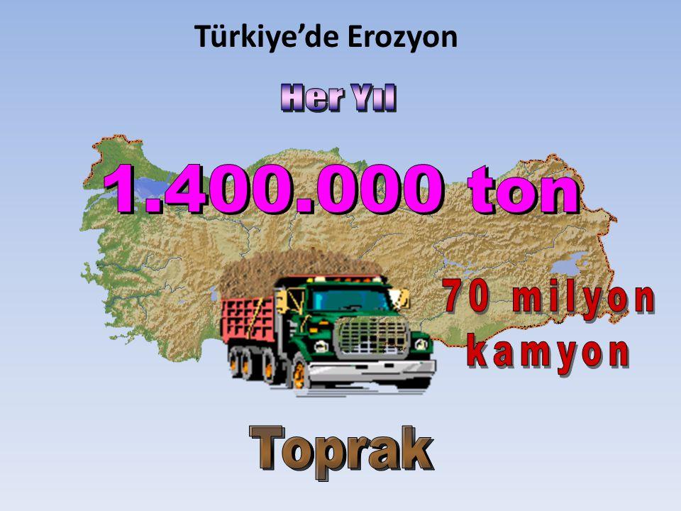 Türkiye'de Erozyon Her Yıl 1.400.000 ton 70 milyon kamyon Toprak