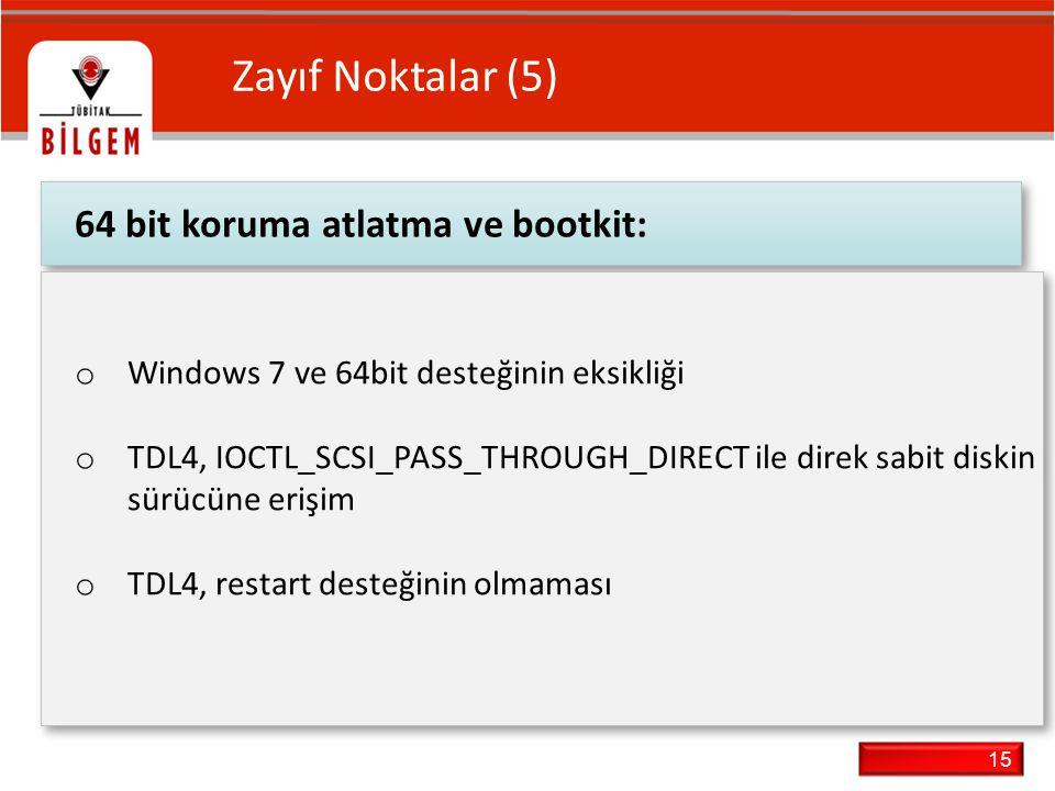 Zayıf Noktalar (5) 64 bit koruma atlatma ve bootkit: