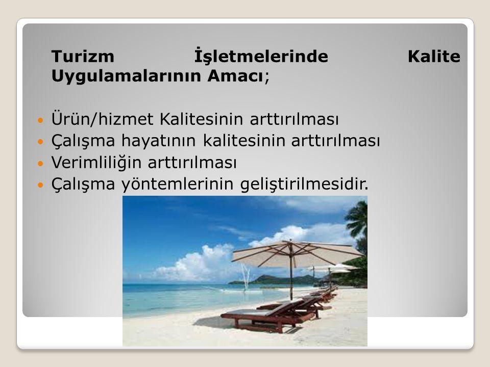 Turizm İşletmelerinde Kalite Uygulamalarının Amacı;