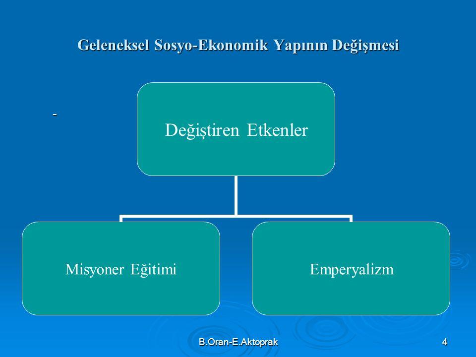 Geleneksel Sosyo-Ekonomik Yapının Değişmesi