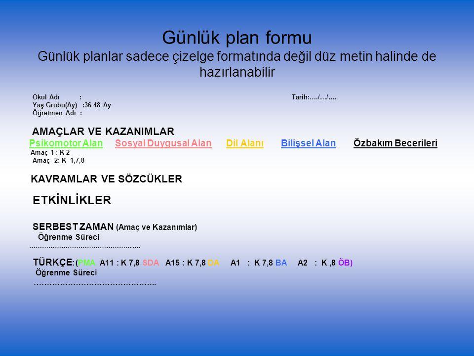 Günlük plan formu Günlük planlar sadece çizelge formatında değil düz metin halinde de hazırlanabilir