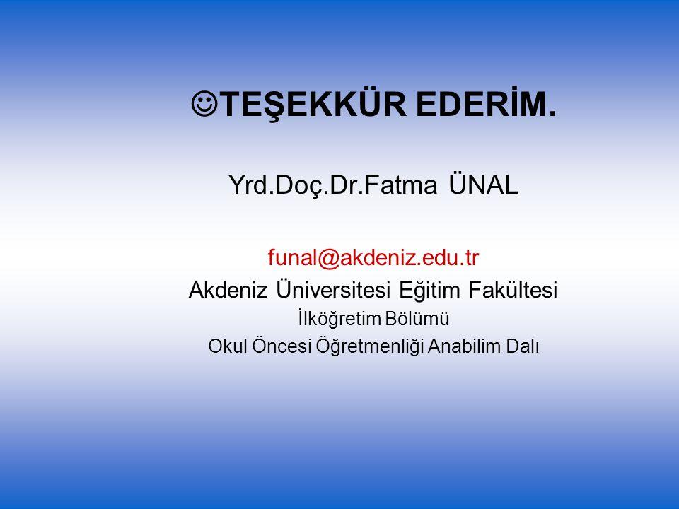 TEŞEKKÜR EDERİM. Yrd.Doç.Dr.Fatma ÜNAL funal@akdeniz.edu.tr