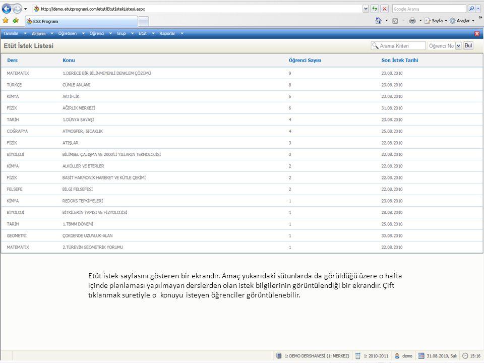 Etüt istek sayfasını gösteren bir ekrandır