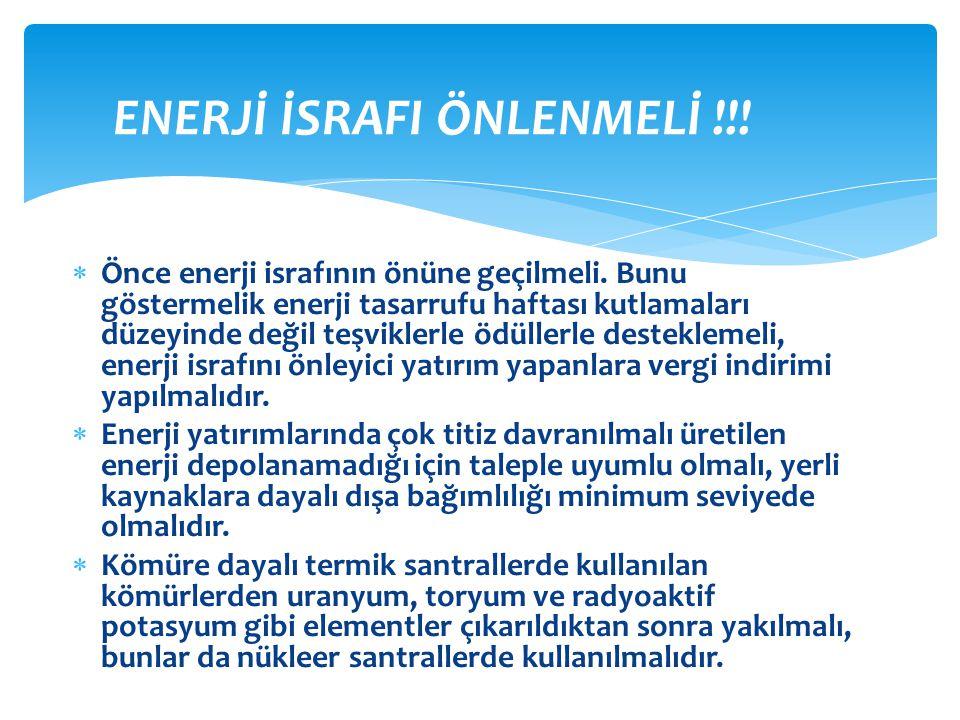 ENERJİ İSRAFI ÖNLENMELİ !!!