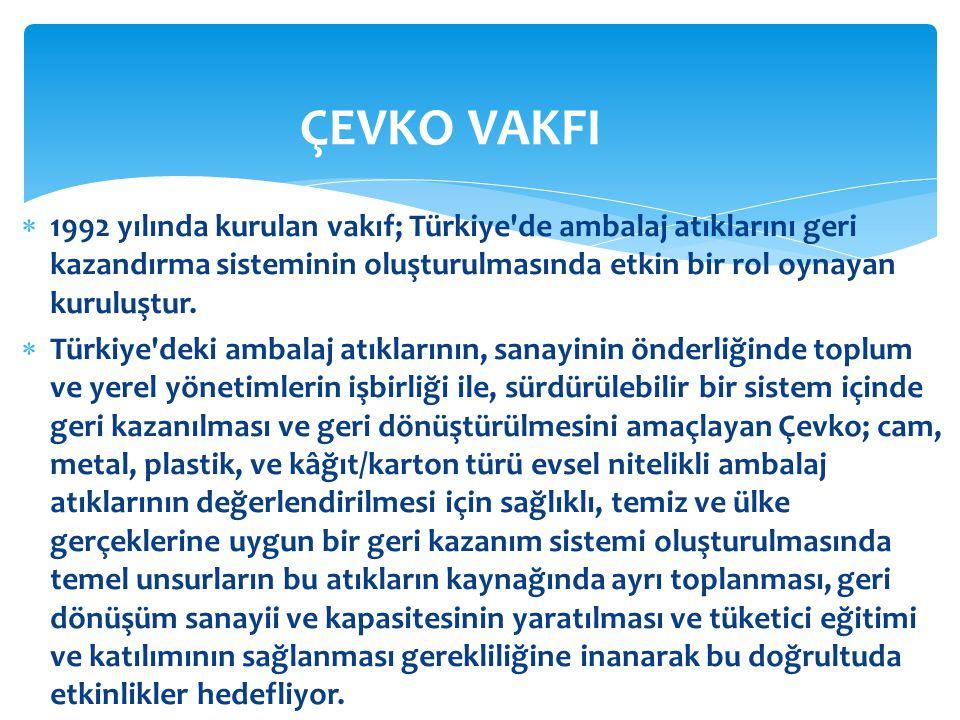 ÇEVKO VAKFI 1992 yılında kurulan vakıf; Türkiye de ambalaj atıklarını geri kazandırma sisteminin oluşturulmasında etkin bir rol oynayan kuruluştur.
