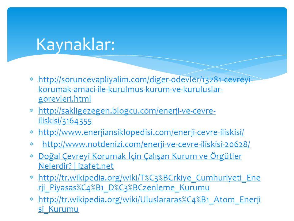 Kaynaklar: http://soruncevapliyalim.com/diger-odevler/13281-cevreyi-korumak-amaci-ile-kurulmus-kurum-ve-kuruluslar-gorevleri.html.