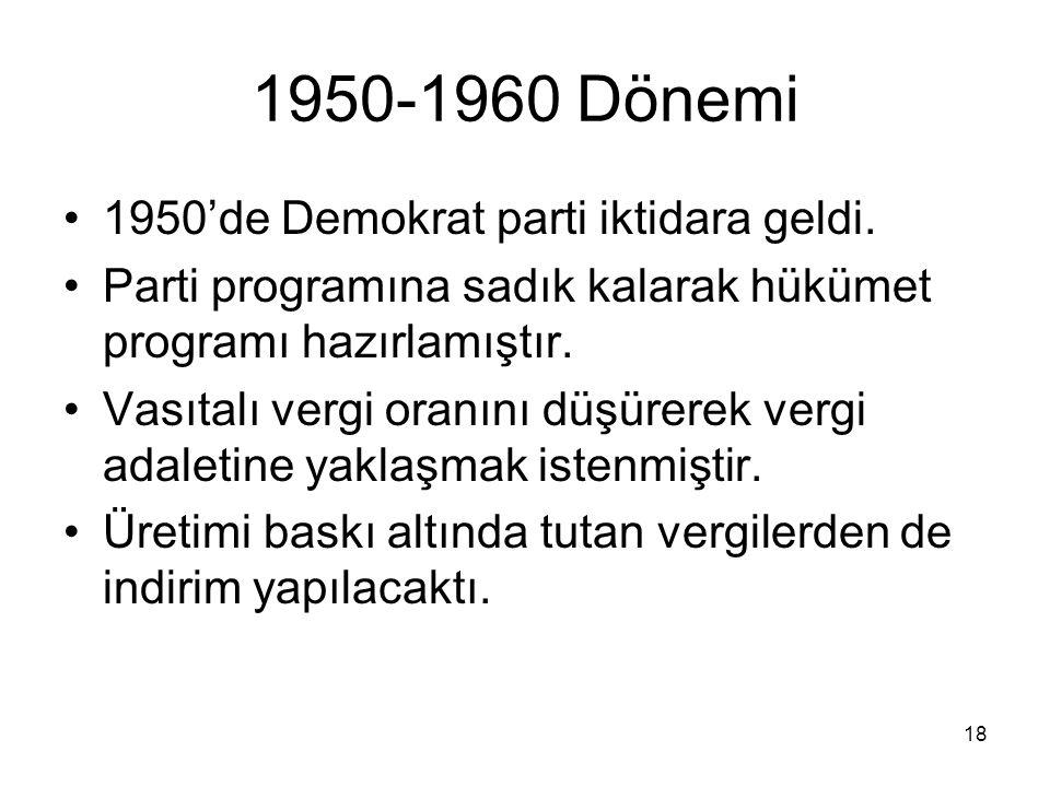 1950-1960 Dönemi 1950'de Demokrat parti iktidara geldi.