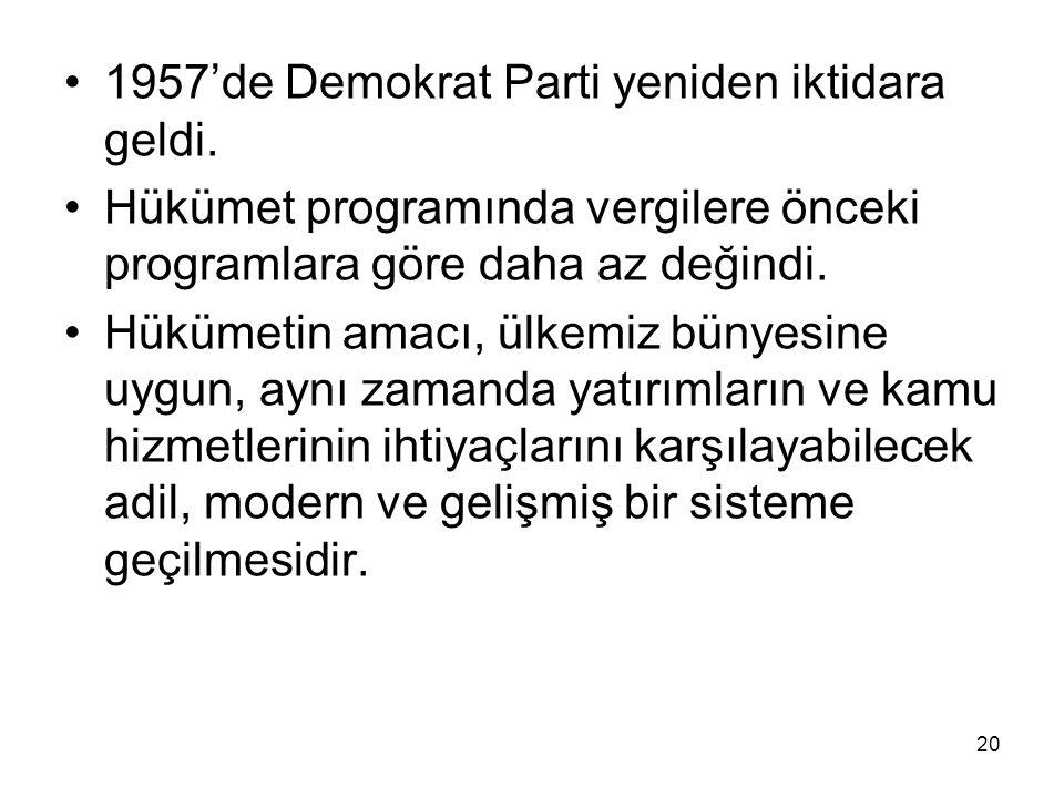 1957'de Demokrat Parti yeniden iktidara geldi.