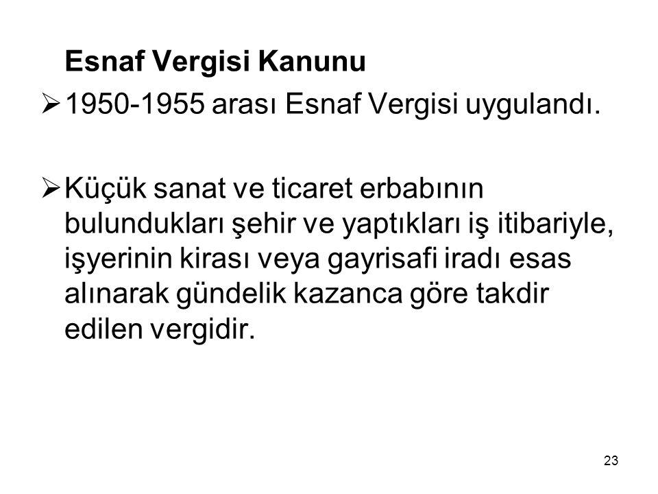 Esnaf Vergisi Kanunu 1950-1955 arası Esnaf Vergisi uygulandı.