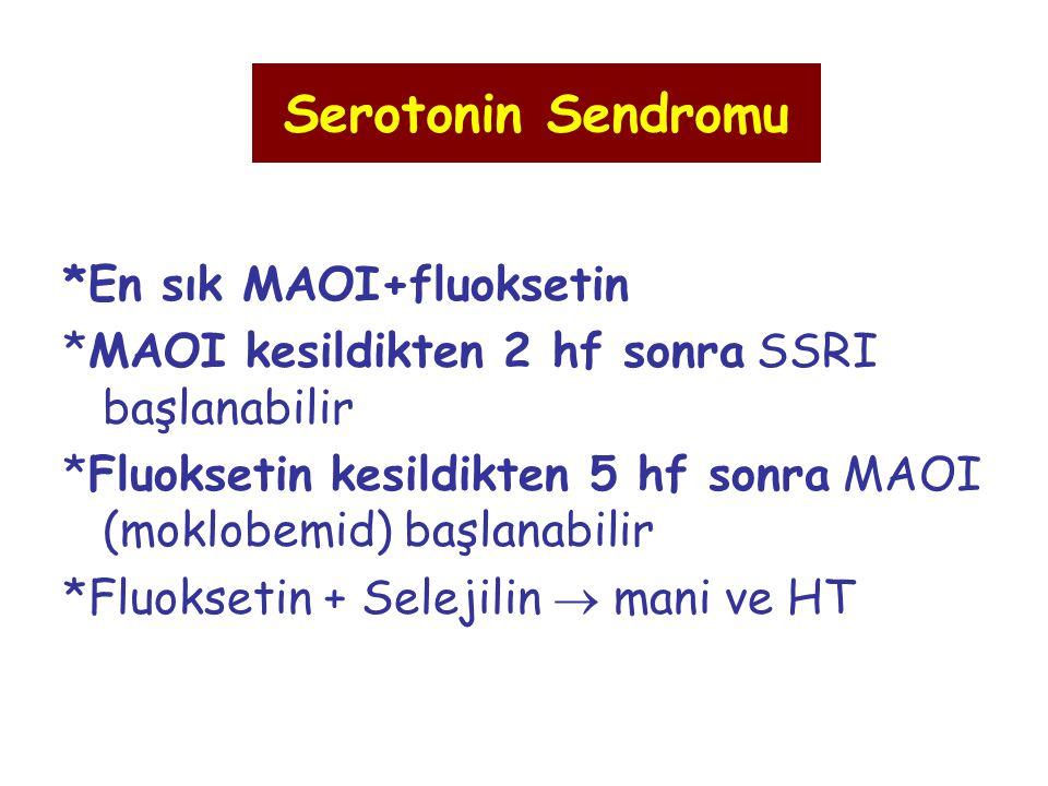 Serotonin Sendromu *En sık MAOI+fluoksetin