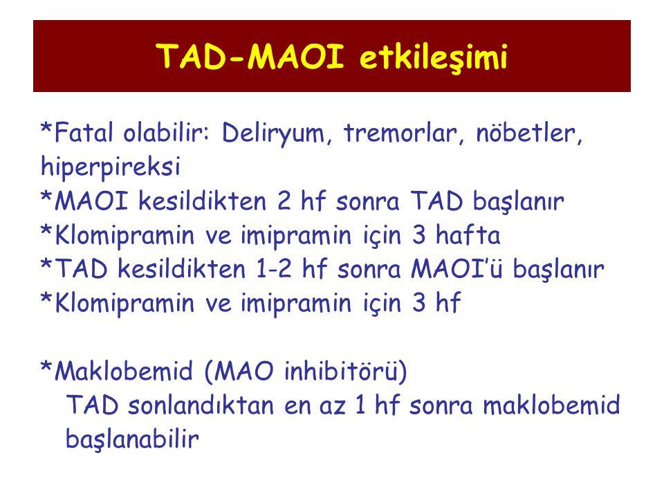 TAD-MAOI etkileşimi *Fatal olabilir: Deliryum, tremorlar, nöbetler,