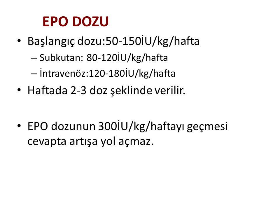 Başlangıç dozu:50-150İU/kg/hafta