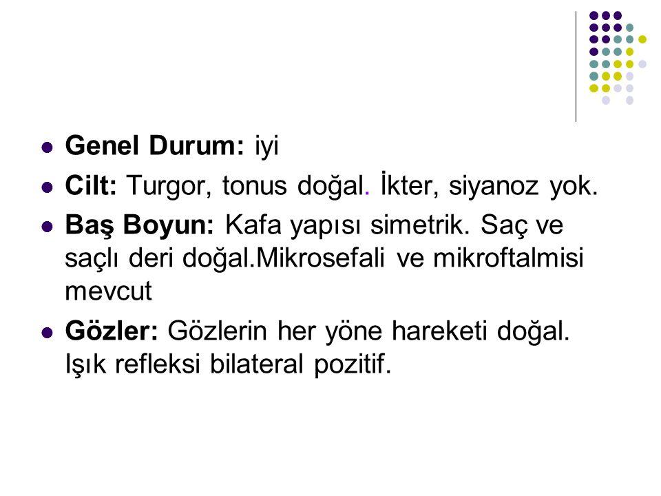 Genel Durum: iyi Cilt: Turgor, tonus doğal. İkter, siyanoz yok.