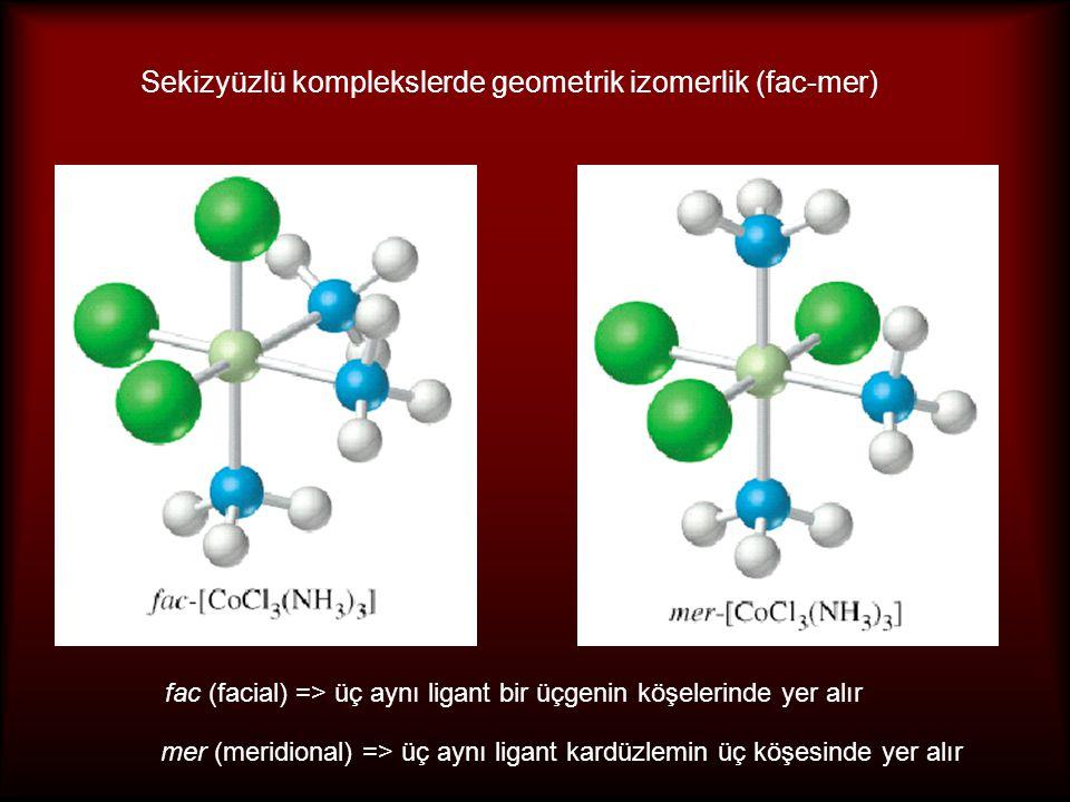 Sekizyüzlü komplekslerde geometrik izomerlik (fac-mer)