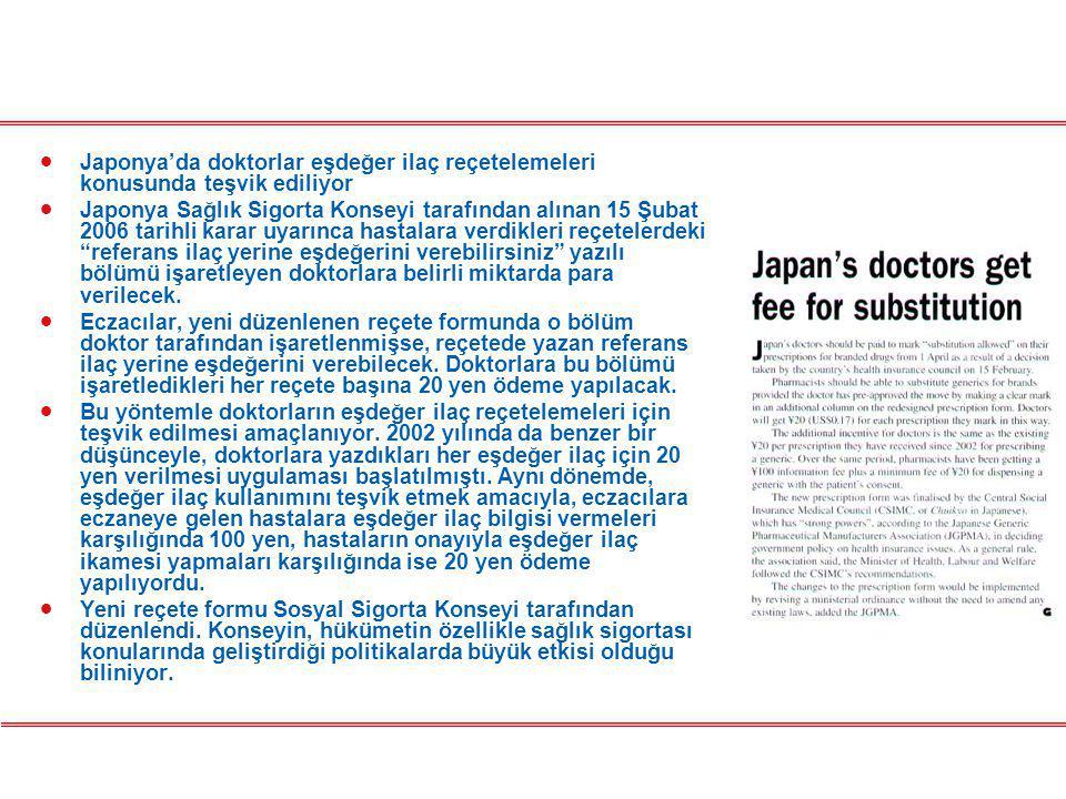Japonya'da doktorlar eşdeğer ilaç reçetelemeleri konusunda teşvik ediliyor