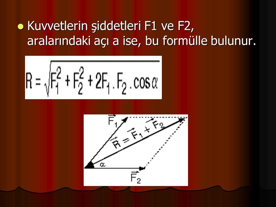 Kuvvetlerin şiddetleri F1 ve F2, aralarındaki açı a ise, bu formülle bulunur.