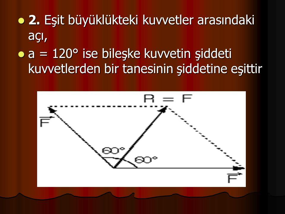2. Eşit büyüklükteki kuvvetler arasındaki açı,